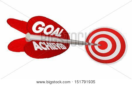 Goal Achieved Arrow Hitting Target Bulls Eye 3d Illustration