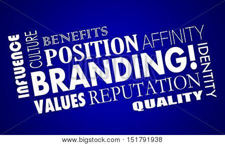 Branding Identity Reputation Trust Word Collage 3d Illustration