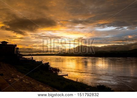 Silhouette, Viewpoint Mekong River Between The Chiang Khan District, Thailand And Xanakham Distric,