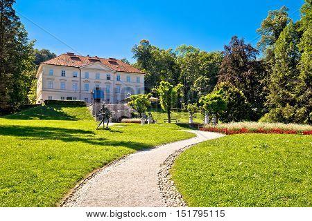 Tivoli park landscape in Ljubljana green heart of capital of Slovenia
