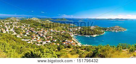 Drage Pakostanske panoramic aerial view with Kornati islands national park Dalmatia Croatia