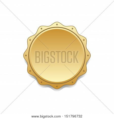 Seal award gold icon. Blank medal with stars isolated white background. Stamp for design. Golden emblem. Symbol of assurance winner guarantee and best label premium quality. Vector illustration