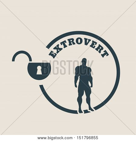 extrovert simple icon metaphor. image relative to human psychology. muscular man in the locked circle
