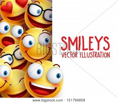 Funny smiley face vector characters happy smiling in the background with empty white board space for text. Vector illustration.