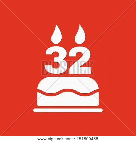 The birthday cake with candles in the form of number 32 icon. Birthday symbol. Flat Vector illustration