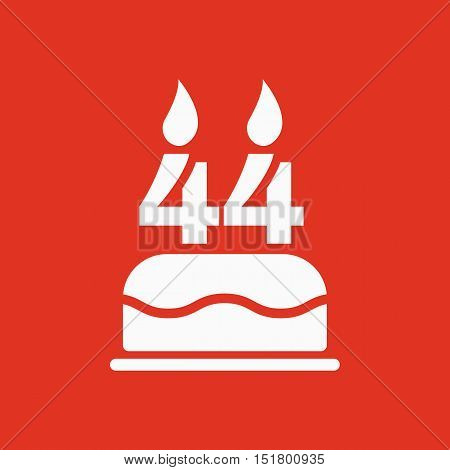 The birthday cake with candles in the form of number 44 icon. Birthday symbol. Flat Vector illustration