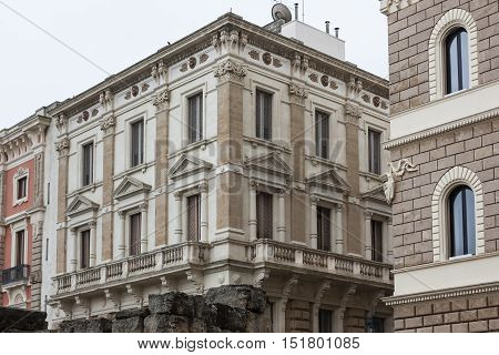 Facade of an ancient building in the center of Lecce. symbolic city for baroque and tourist culture