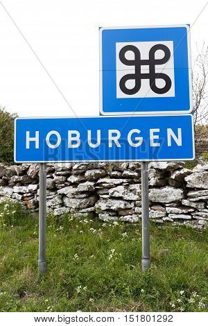 Road sign at the geographical location Hoburgen at the south end of the Swedish ilandand Gotland.
