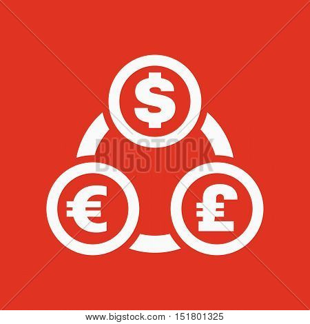 The currency exchange dollar, euro, pound sterling icon. Cash and money, wealth, payment symbol. Flat Vector illustration