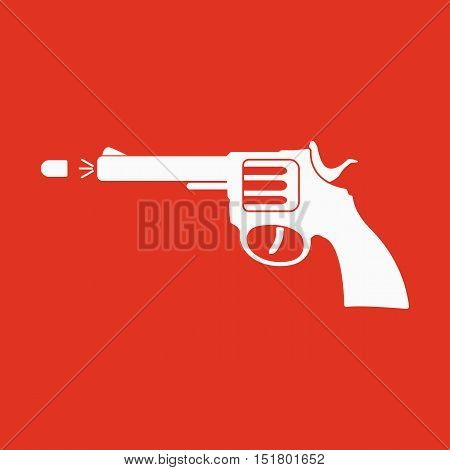 The gun icon. Pistol and handgun, weapon, revolver, shot symbol. Flat Vector illustration