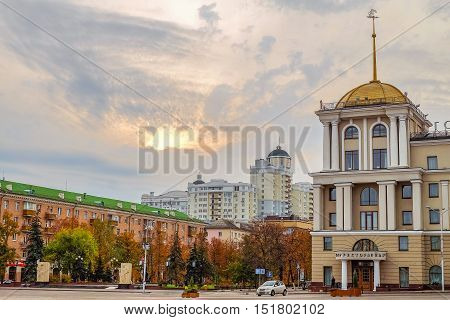 Cathedral Square in Belgorod city. View of the Holy Trinity Boulevard and part of the facade of the hotel