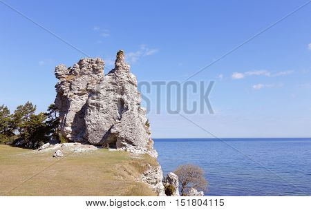 The sea stack named Jungfrun (Virgin) near the village Lickershamn on Swedish Baltic island Gotland.