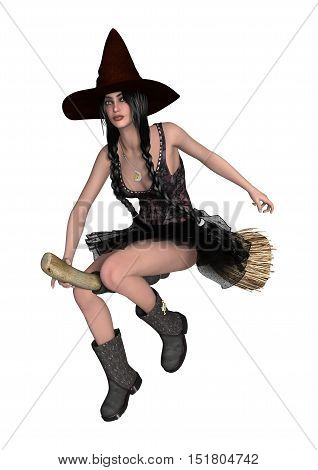 3D rendering of a beautiful flying on a broomstick isolated on white background