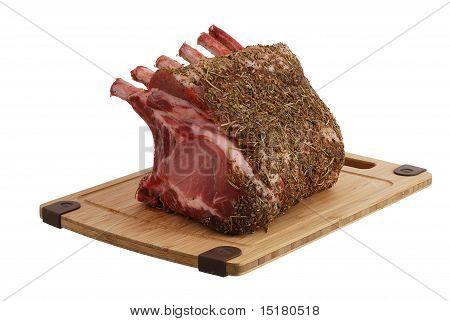Seasoned Pork Foreloin On Bamboo Cutting Board
