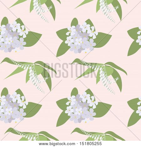 Seamless pattern with Orange Blossom. Flowers from an orange tree, traditionally for by the bride at a wedding. eps10 vector illustration.