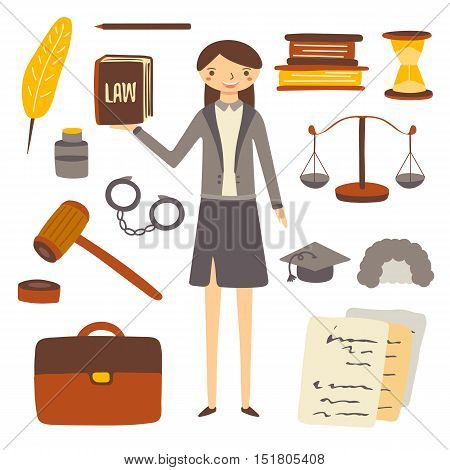 Hand drawn flat style woman lawyer and attorney objects collection including feather book sand clock pen paper knowledge hat judge wig bag gavel . Objects icons set for lawyer