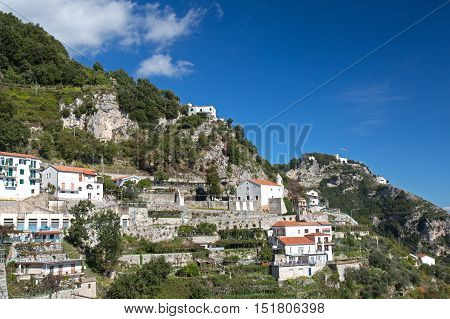 View of the small village of Furore on Amalfi coast