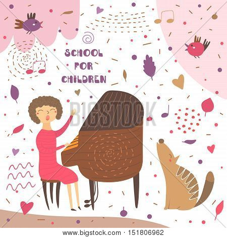 Cute hand drawn card postcard with music teacher playing piano.Woman sitting on chair and singing. Background for musical school classes education. Animals set including bird wolf