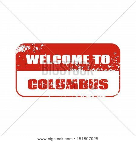 Welcome to Columbus stamp. Vector Design  element.