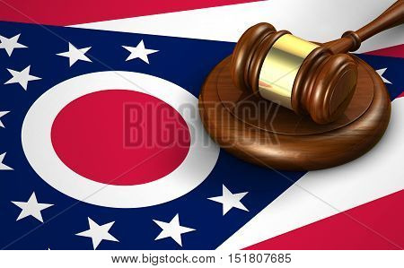 Ohio US state law legal system and justice concept with a 3d rendering of a gavel on the Ohioan flag on background.