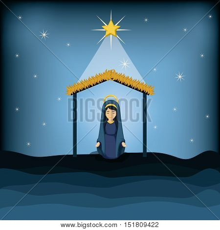 Holy mary cartoon icon. Holy family and merry christmas season theme. Colorful design. Vector illustration