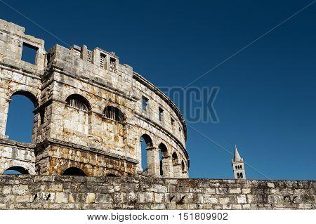 Nonstandard view of the Colosseum in Pula, Croatia.