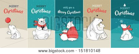 Merry Christmas greetings with bears. Hand drawn polar bear, cute bear set, mother and baby bears, couple of bears