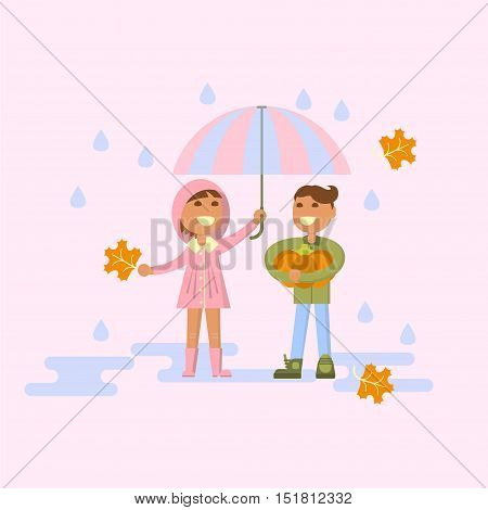 Illustration of kids playing outdoors in autumn. Baby in the rain - girl with umbrella and boy with pumpkin. Flat design of season. Vector illustration eps