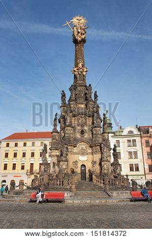 Olomouc, Czech Republic - October 14,2016: Holy Trinity Column in the main square of the old town of Olomouc.The magnum opus of European baroque included UNESCO.Column built in the years 1716 - 1754.