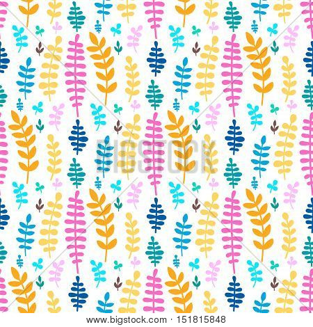 Vector seamless pattern with hand drawn flat plants. Branch with leaves. Green yellow orange blue brawn and pink garden elements on white background.