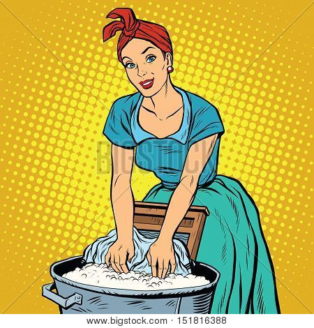 Retro woman laundress to wash clothes, pop art vector illustration. Dirty and clean. Homework