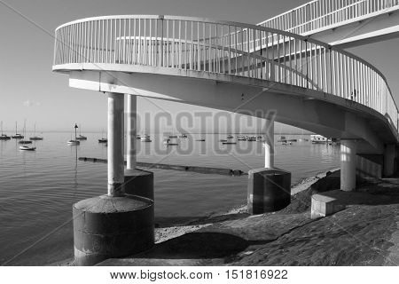 Black and white image of the footbridge at Leigh-on-Sea near Southend Essex England