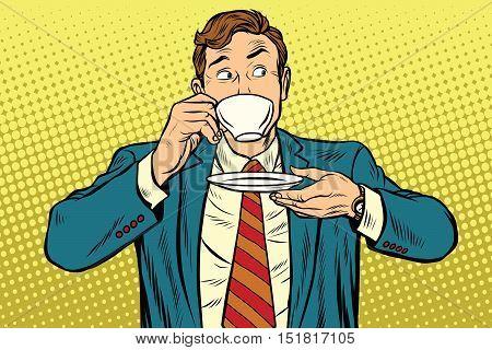 Businessman drinking Cup of coffee looking sideways, pop art retro vector illustration