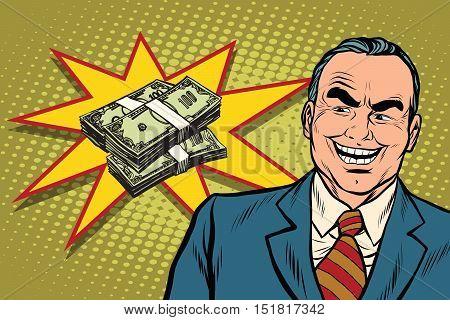 Boss businessman laughs, have a lot of money, pop art retro vector illustration