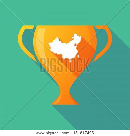 Long Shadow Gold Award Cup With  A Map Of China
