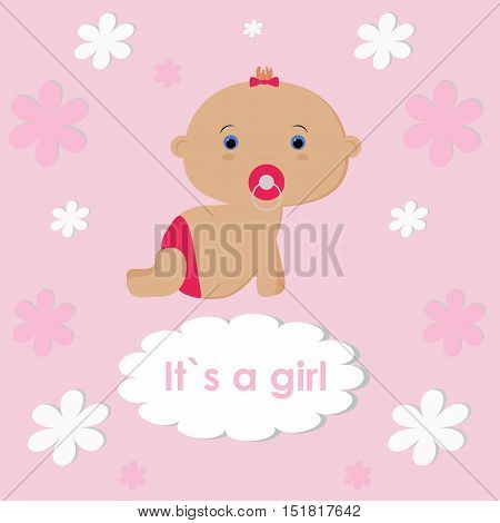 template for congratulations on the birth of a baby girl. Poster scrapbook or album page. Cute vector illustration of a baby girl. Baby shower or arrival