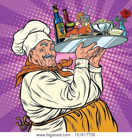Retro chef with dinner on a tray, pop art vector illustration