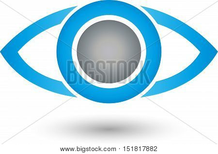 Eye in blue, security, eye doctor and eye logo