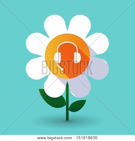 Long Shadow Daisy Flower With  A Hands Free Phone Device