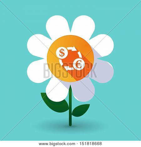 Long Shadow Daisy Flower With A Dollar Euro Exchange Sign