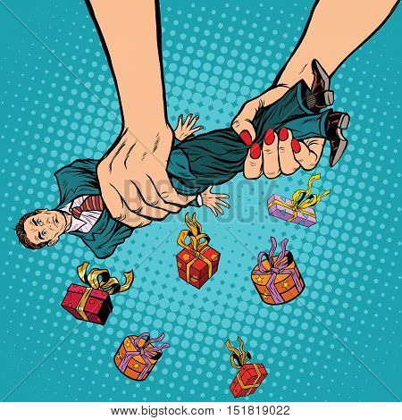Female hands squeeze men gifts, pop art retro vector illustration. Love and exploitation. Holiday sale