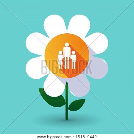 Long Shadow Daisy Flower With A Male Single Parent Family Pictogram