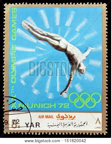 YEMEN - CIRCA 1971 : Cancelled postage stamp printed by Yemen, that shows High diving.