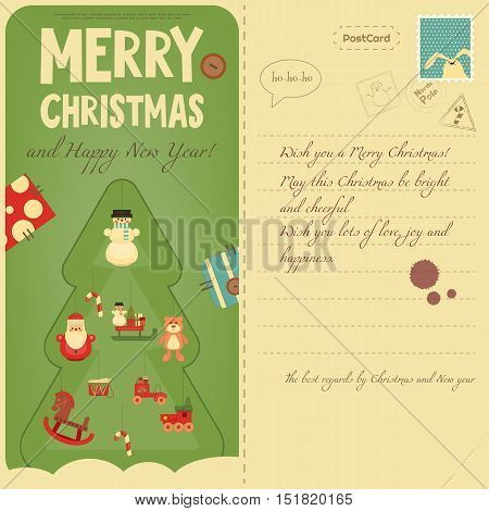 Vintage Postcard with Christmas and New Years Greeting. Backdrop of Postal Card for Winter Holiday. Decorated Christmas Tree. Vector Illustration.