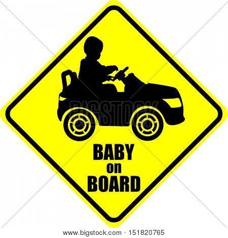 baby on board label sticker - vector