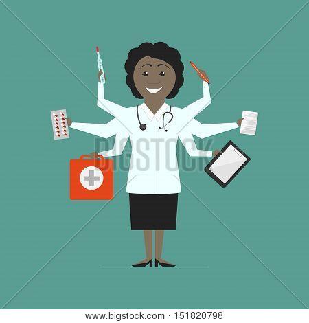 Woman multi-doctor. Multitasking. Flat design vector isolated