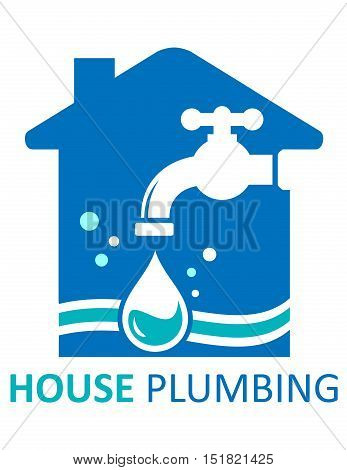 blue house plumbing concept symbol for pure water for home