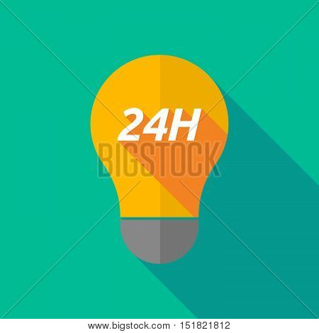 Long Shadow Light Bulb Icon With    The Text 24H