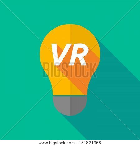 Long Shadow Light Bulb Icon With    The Virtual Reality Acronym Vr