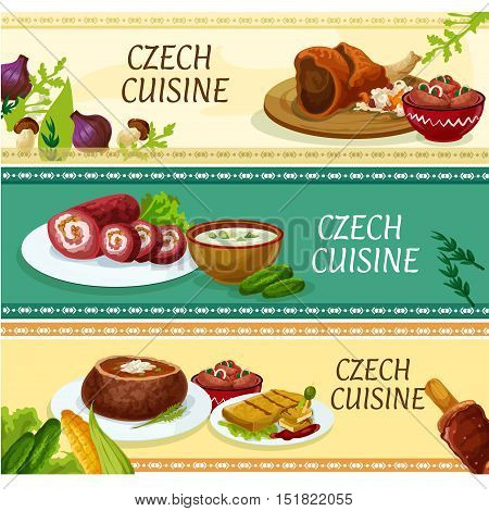 Czech cuisine traditional dishes banners with roast pork knee, pickled sausages, fried cheese, potato soup served in bread bowl, steak roll, cucumber soup and cake trdelnik. Restaurant menu design